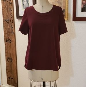 Womans burgandy Ro & De short sleeved tunic top L